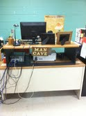My standing workstation in my classroom.