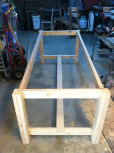 Legs, stretcher, end boards, and apron