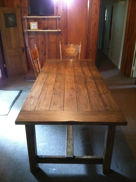 farmhouse table, finished farmhouse table