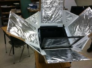 diy solar cooker, student built solar cooker