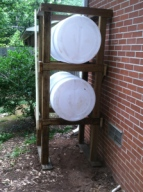 Stacked rain barrel collection system