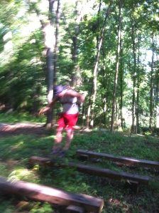 That blur is me jumping from bench to bench ~ I played the stunt double for Predator in the movie.