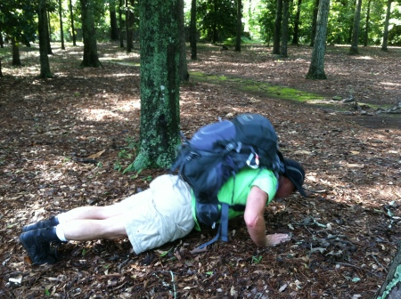 Doing a set of B.O.B. pushups.