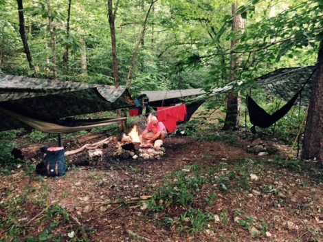 Tarps and hammocks on Eagle Rock Loop