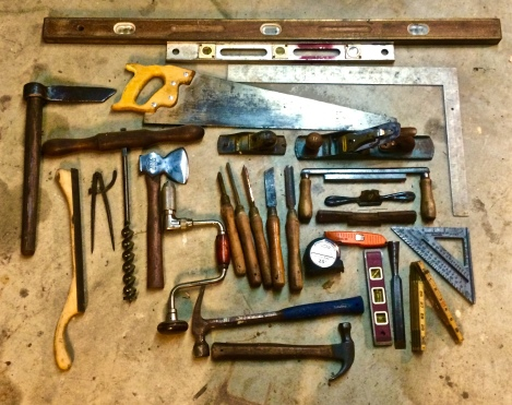 A mix of modern and pioneer tools