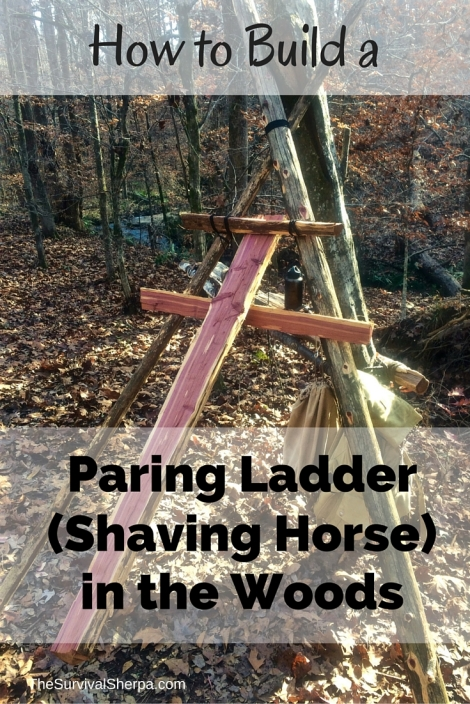 How to Build a Paring Ladder (Shaving Horse) in the Woods - TheSurvivalSherpa.com