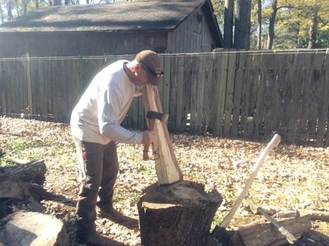 Use a small ax or hatchet to remove as much wood as possible on the rough handle