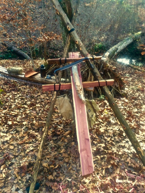 how to build equipment in the woods