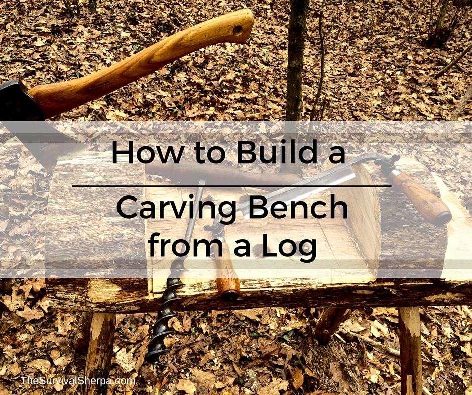 How to build a carving bench from a log rope vise plans included