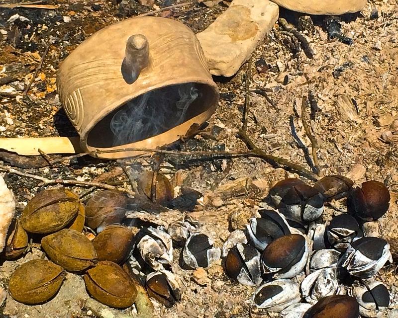 Scott Jones using hickory nuts as charcoal