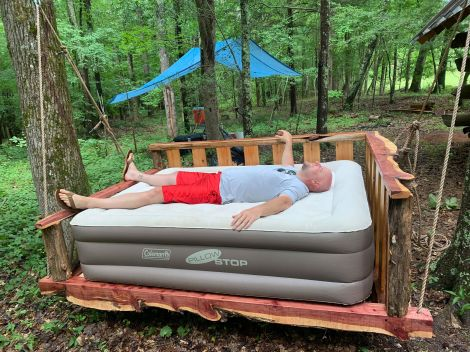 How to Build a Rustic Outdoor Swing Bed - thesurvivalsherpa.com